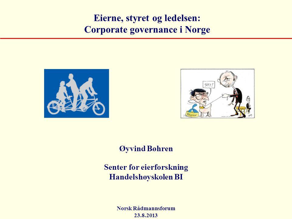 Eierne, styret og ledelsen: Corporate governance i Norge Øyvind Bøhren Senter for eierforskning Handelshøyskolen BI Norsk Rådmannsforum 23.8.2013