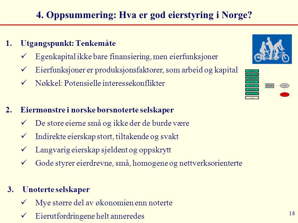 18 4. Oppsummering: Hva er god eierstyring i Norge? 1.Utgangspunkt: Tenkemåte  Egenkapital ikke bare finansiering, men eierfunksjoner  Eierfunksjone
