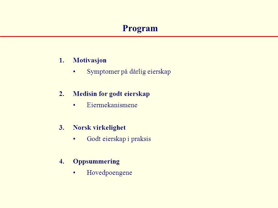 Program 1.Motivasjon • Symptomer på dårlig eierskap 2.Medisin for godt eierskap • Eiermekanismene 3.Norsk virkelighet • Godt eierskap i praksis 4.Opps