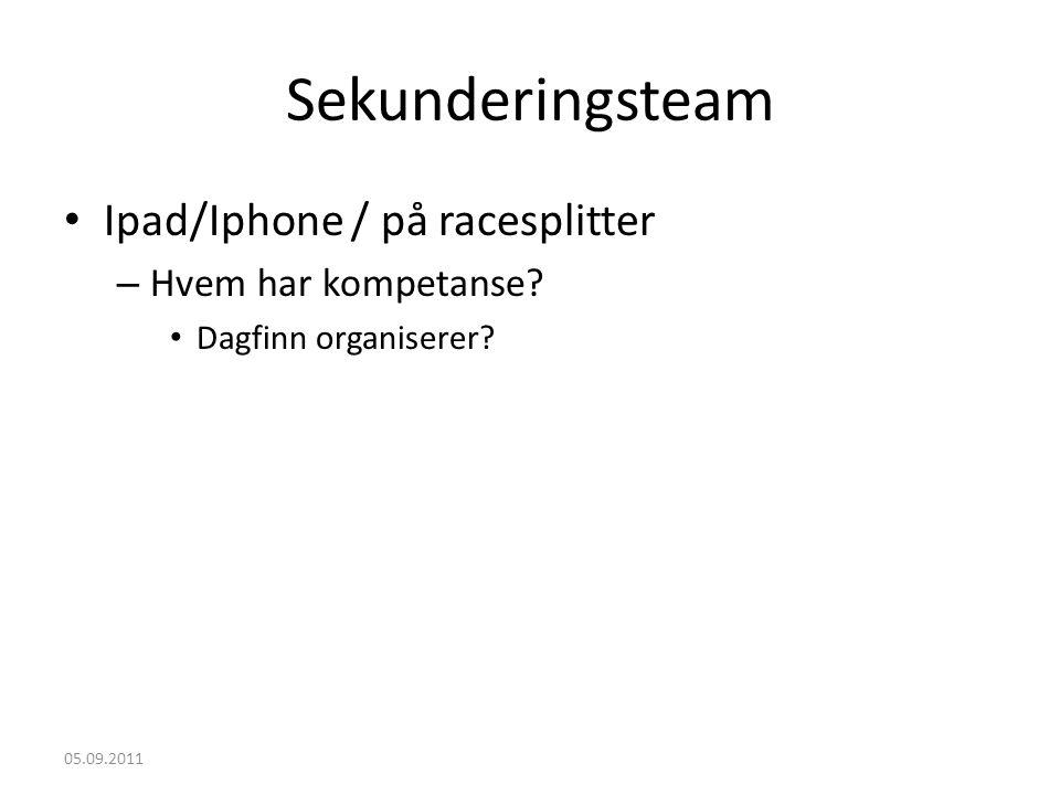 Sekunderingsteam • Ipad/Iphone / på racesplitter – Hvem har kompetanse? • Dagfinn organiserer? 05.09.2011