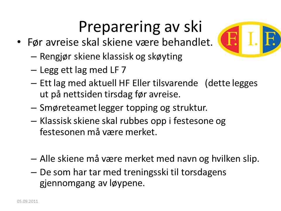 Preparering av ski • Før avreise skal skiene være behandlet.