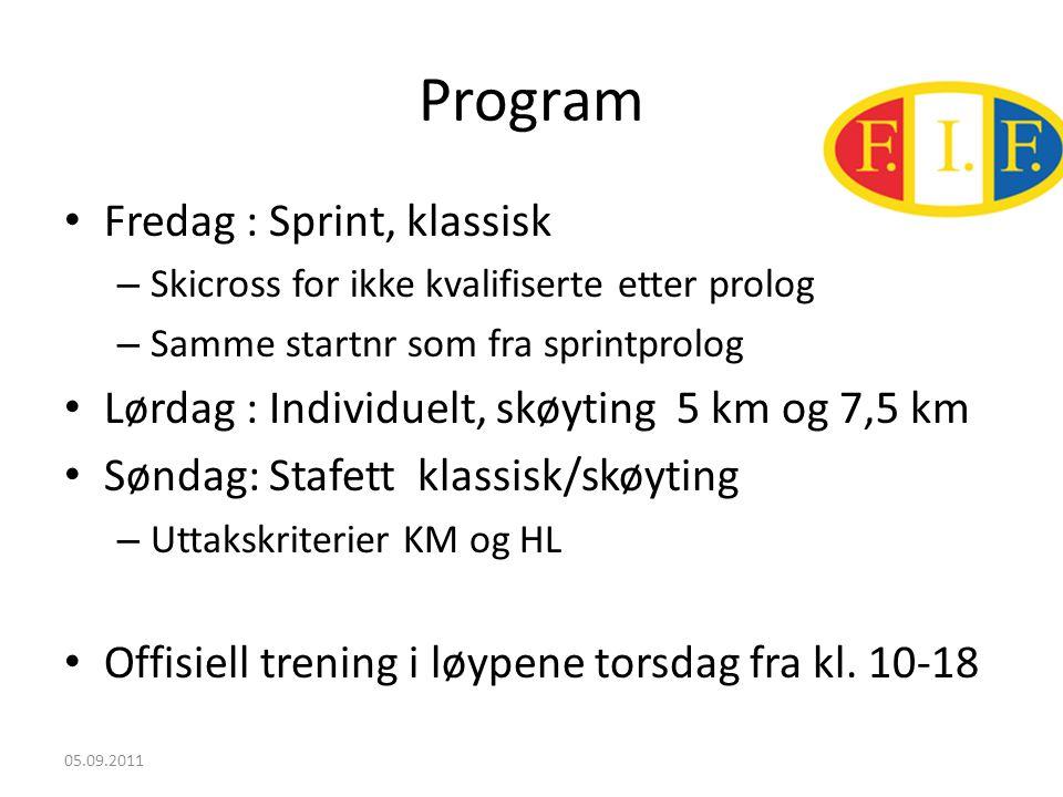 Program • Fredag : Sprint, klassisk – Skicross for ikke kvalifiserte etter prolog – Samme startnr som fra sprintprolog • Lørdag : Individuelt, skøyting 5 km og 7,5 km • Søndag: Stafett klassisk/skøyting – Uttakskriterier KM og HL • Offisiell trening i løypene torsdag fra kl.