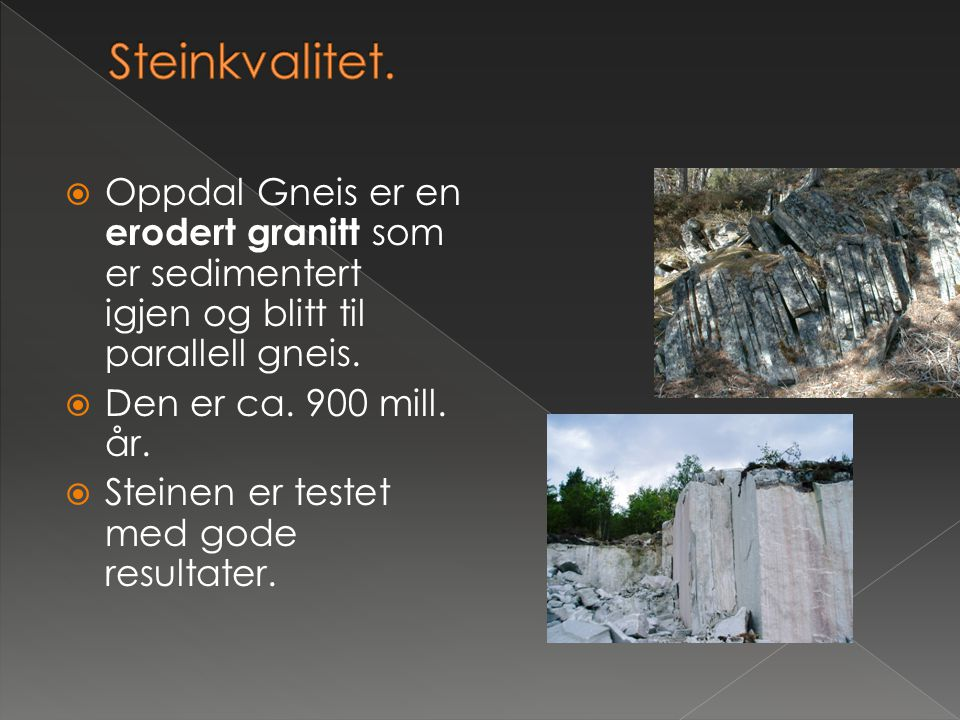  Oppdal Gneis er en erodert granitt som er sedimentert igjen og blitt til parallell gneis.  Den er ca. 900 mill. år.  Steinen er testet med gode re