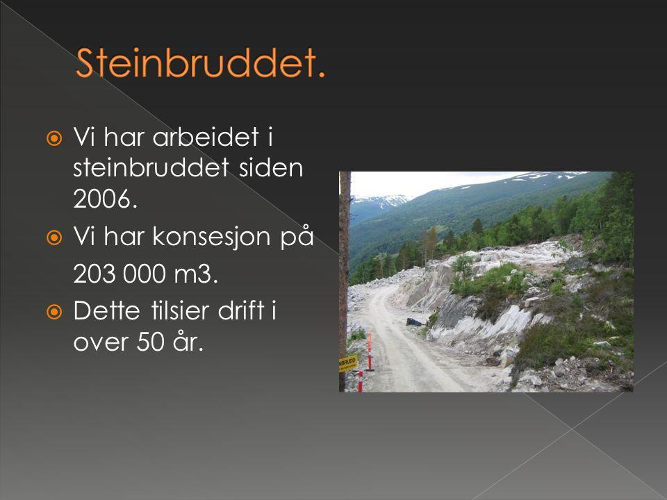  Vi har arbeidet i steinbruddet siden 2006.  Vi har konsesjon på 203 000 m3.  Dette tilsier drift i over 50 år.