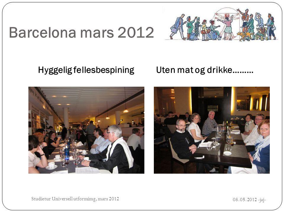 Barcelona mars 2012 Hyggelig fellesbespiningUten mat og drikke……… Studietur Universell utformimg, mars 2012 08.05.2012 -jaj-