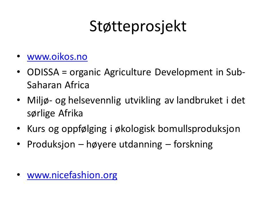 Støtteprosjekt • www.oikos.no www.oikos.no • ODISSA = organic Agriculture Development in Sub- Saharan Africa • Miljø- og helsevennlig utvikling av lan