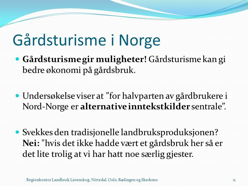 """Gårdsturisme i Norge  Gårdsturisme gir muligheter! Gårdsturisme kan gi bedre økonomi på gårdsbruk.  Undersøkelse viser at """"for halvparten av gårdbru"""