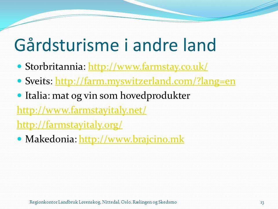 Gårdsturisme i andre land  Storbritannia: http://www.farmstay.co.uk/http://www.farmstay.co.uk/  Sveits: http://farm.myswitzerland.com/?lang=enhttp:/