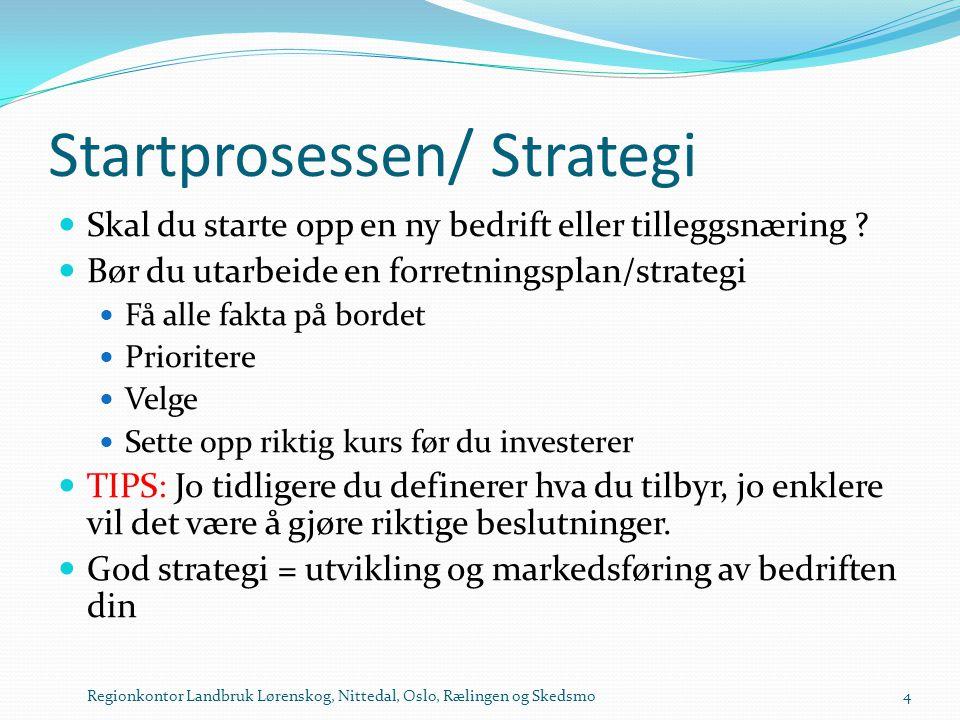Startprosessen/ Strategi  Skal du starte opp en ny bedrift eller tilleggsnæring ?  Bør du utarbeide en forretningsplan/strategi  Få alle fakta på b