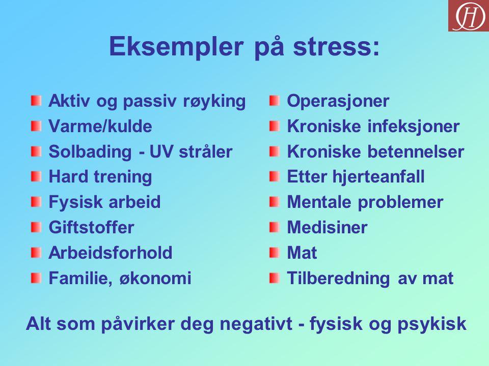 Eksempler på stress: Aktiv og passiv røyking Varme/kulde Solbading - UV stråler Hard trening Fysisk arbeid Giftstoffer Arbeidsforhold Familie, økonomi