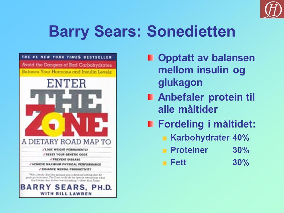 Barry Sears: Sonedietten Opptatt av balansen mellom insulin og glukagon Anbefaler protein til alle måltider Fordeling i måltidet: Karbohydrater40% Pro