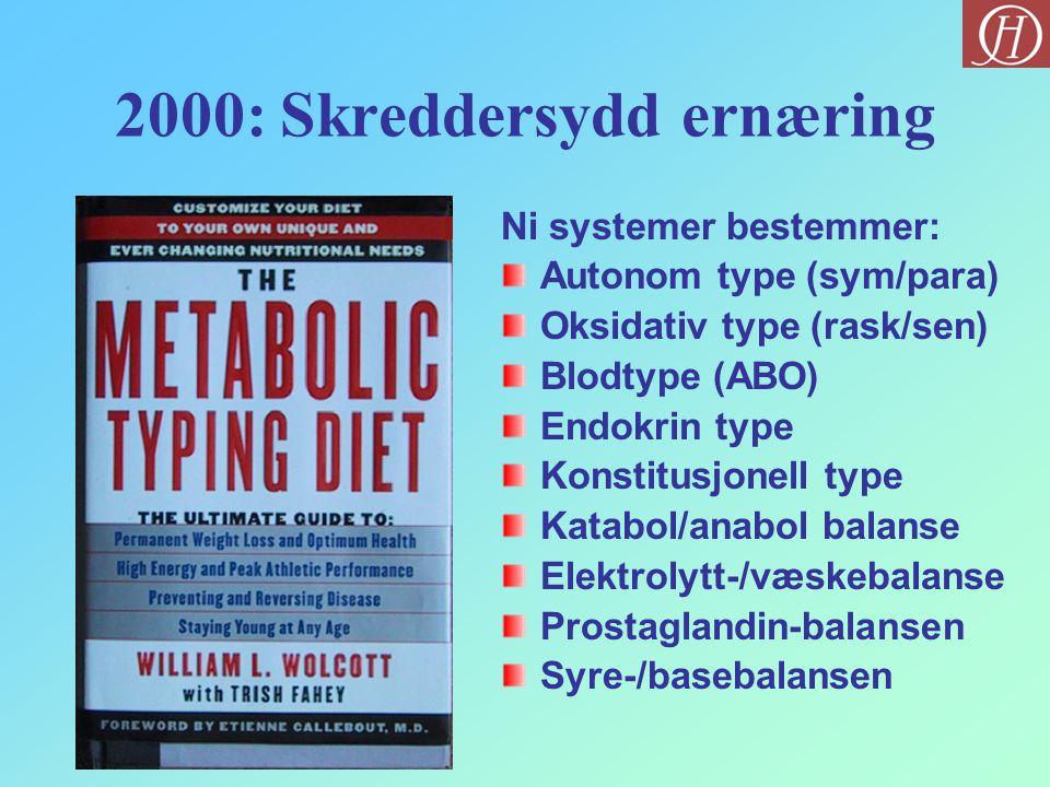 2000: Skreddersydd ernæring Ni systemer bestemmer: Autonom type (sym/para) Oksidativ type (rask/sen) Blodtype (ABO) Endokrin type Konstitusjonell type