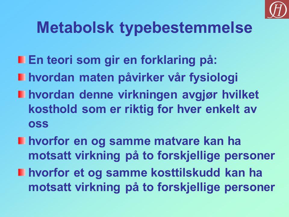 Metabolsk typebestemmelse En teori som gir en forklaring på: hvordan maten påvirker vår fysiologi hvordan denne virkningen avgjør hvilket kosthold som