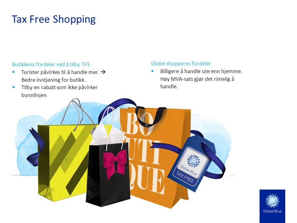Tax Free Shopping Globe shopperes fordeler  Billigere å handle ute enn hjemme. Høy MVA-sats gjør det rimelig å handle. Butikkens fordeler ved å tilby