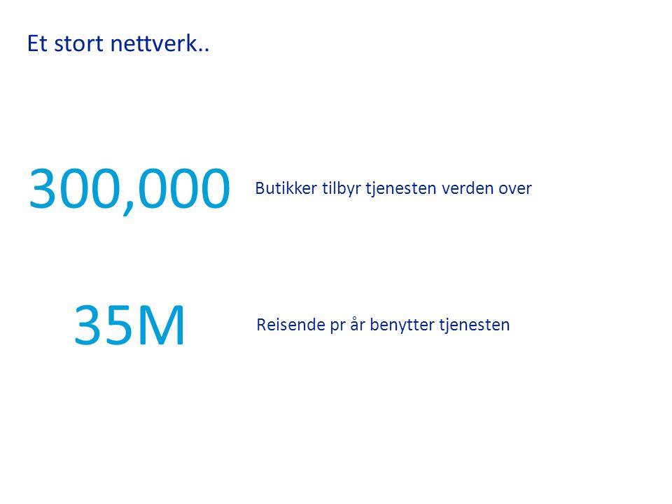 Et stort nettverk.. 300,000 35M Butikker tilbyr tjenesten verden over Reisende pr år benytter tjenesten