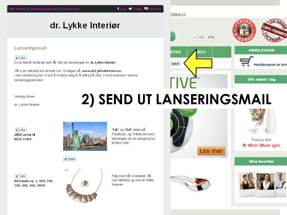 """"""" BUILD AN AUDIENCE """" Bli kunde nr. 1,100,200,300,400,500,1000! Vinn gave fra dr. Lykke! Lanseringsvideo + Konkurranser = PR"""