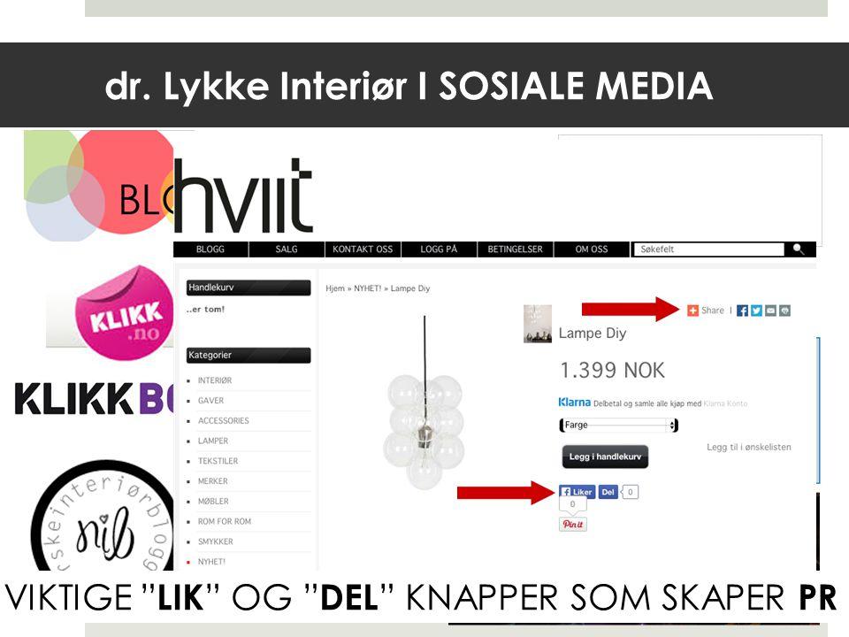 dr. Lykke Interiør I SOSIALE MEDIA Blogg.no VIKTIGE LIK OG DEL KNAPPER SOM SKAPER PR