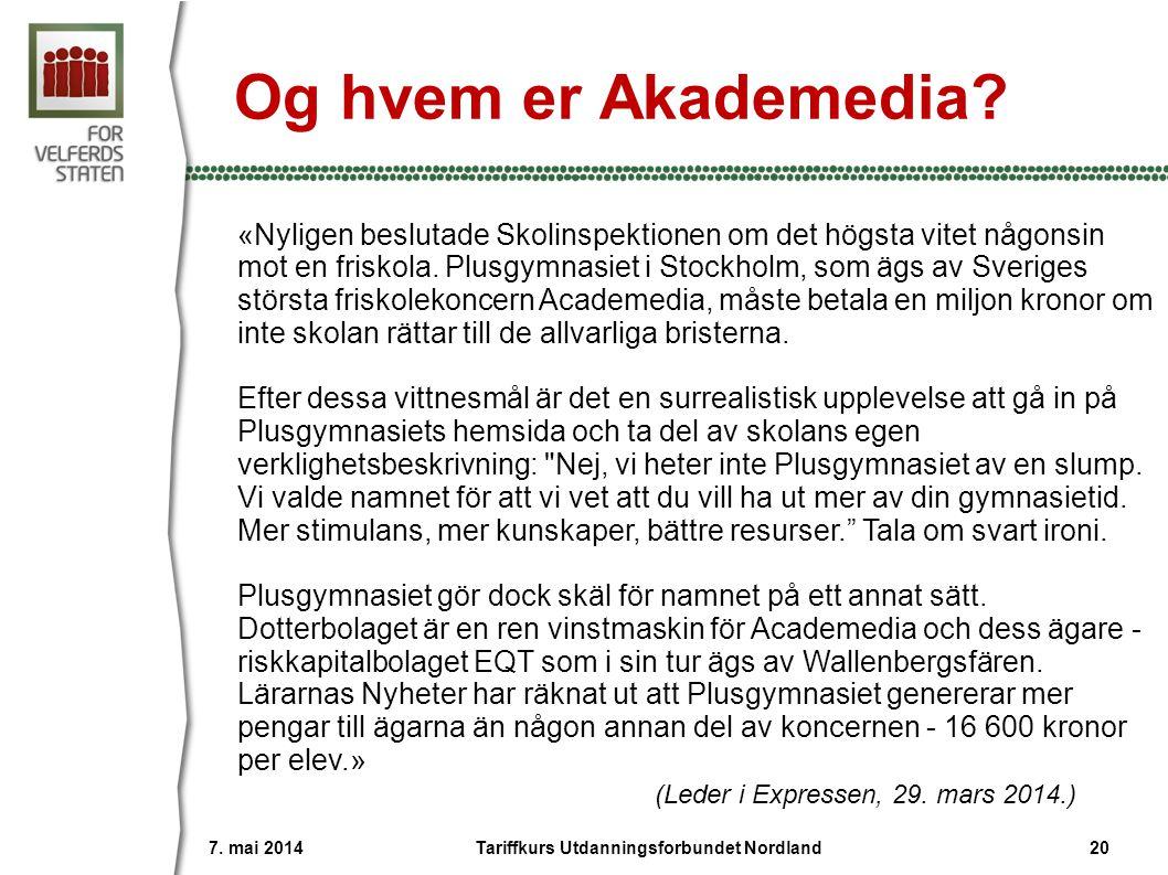 Og hvem er Akademedia? «Nyligen beslutade Skolinspektionen om det högsta vitet någonsin mot en friskola. Plusgymnasiet i Stockholm, som ägs av Sverige