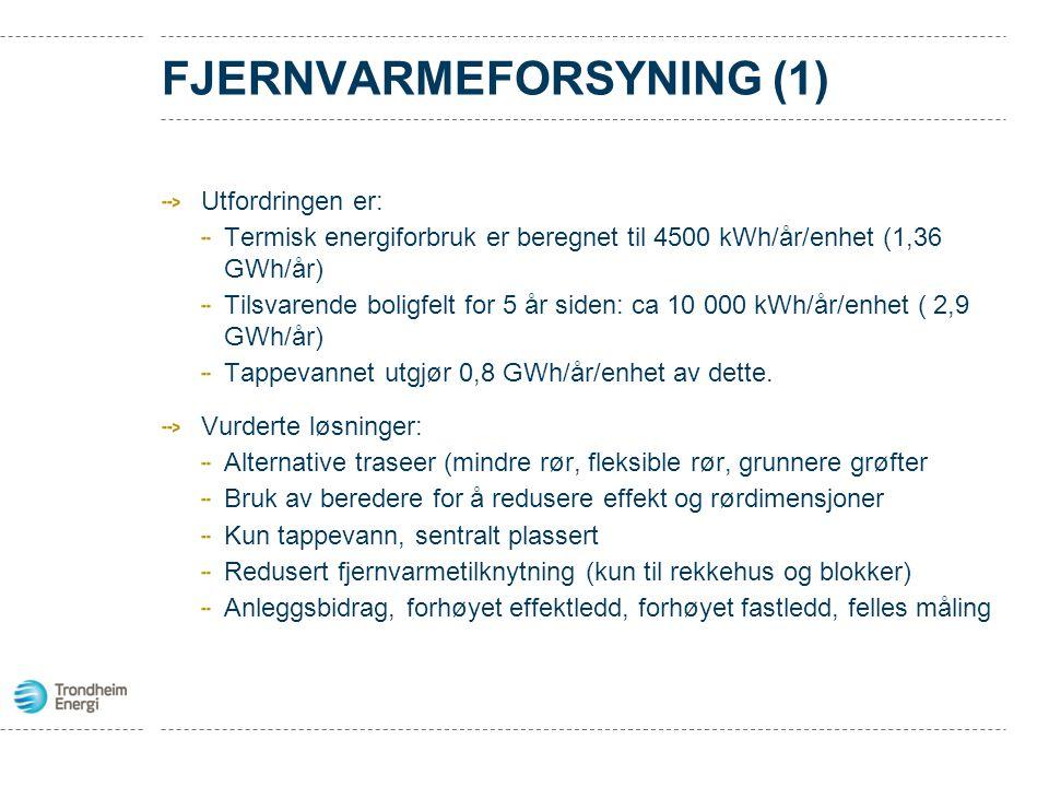 FJERNVARMEFORSYNING (1) Utfordringen er: Termisk energiforbruk er beregnet til 4500 kWh/år/enhet (1,36 GWh/år) Tilsvarende boligfelt for 5 år siden: c