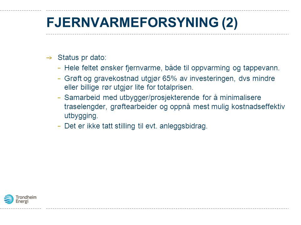 FJERNVARMEFORSYNING (2) Status pr dato: Hele feltet ønsker fjernvarme, både til oppvarming og tappevann. Grøft og gravekostnad utgjør 65% av investeri