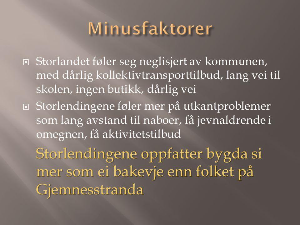  Storlandet føler seg neglisjert av kommunen, med dårlig kollektivtransporttilbud, lang vei til skolen, ingen butikk, dårlig vei  Storlendingene føl