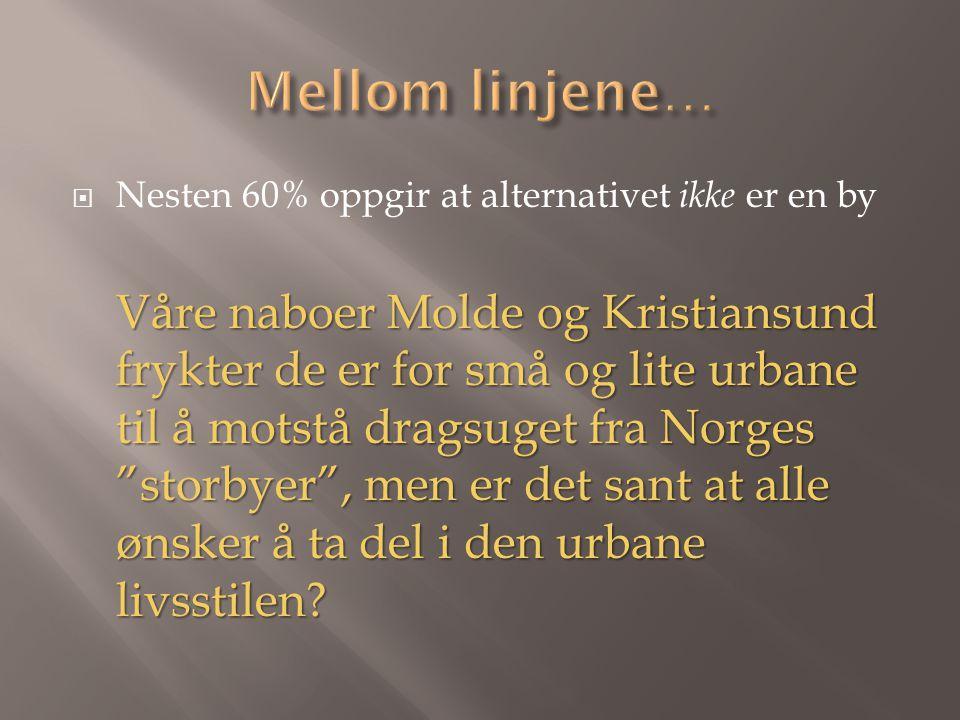  Nesten 60% oppgir at alternativet ikke er en by Våre naboer Molde og Kristiansund frykter de er for små og lite urbane til å motstå dragsuget fra Norges storbyer , men er det sant at alle ønsker å ta del i den urbane livsstilen?