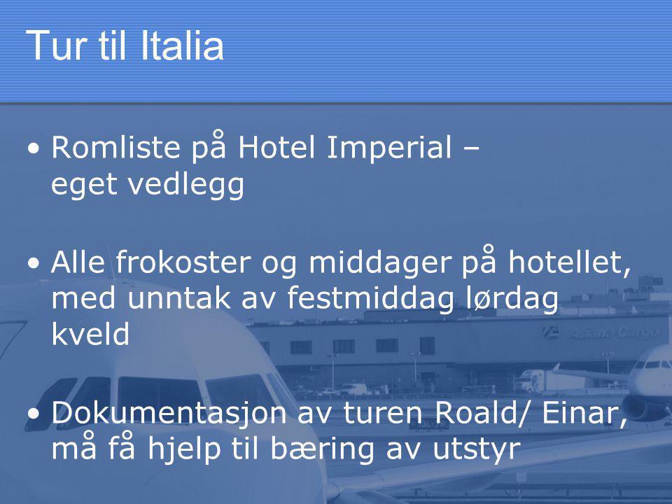 Tur til Italia •Romliste på Hotel Imperial – eget vedlegg •Alle frokoster og middager på hotellet, med unntak av festmiddag lørdag kveld •Dokumentasjon av turen Roald/ Einar, må få hjelp til bæring av utstyr