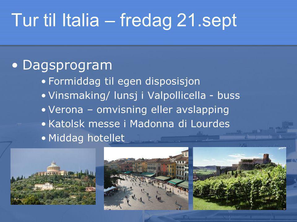 Tur til Italia – fredag 21.sept •Dagsprogram •Formiddag til egen disposisjon •Vinsmaking/ lunsj i Valpollicella - buss •Verona – omvisning eller avslapping •Katolsk messe i Madonna di Lourdes •Middag hotellet