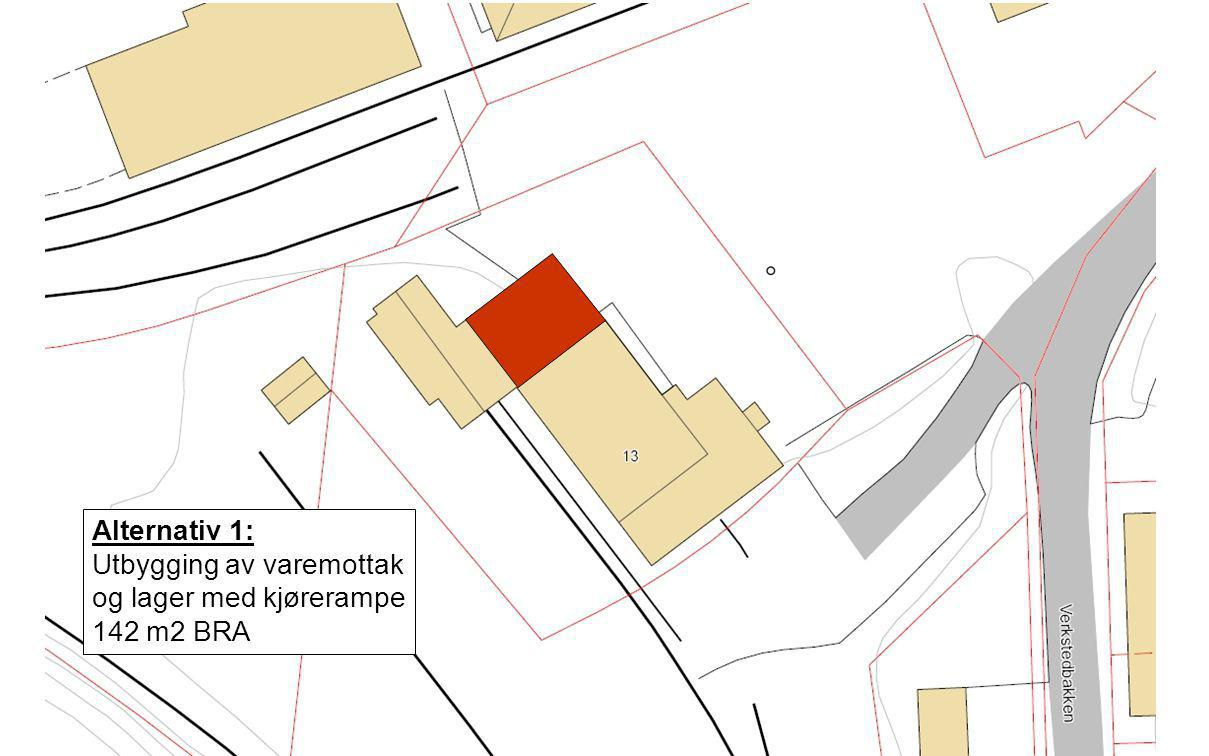 Alternativ 1: Utbygging av varemottak og lager med kjørerampe 142 m2 BRA