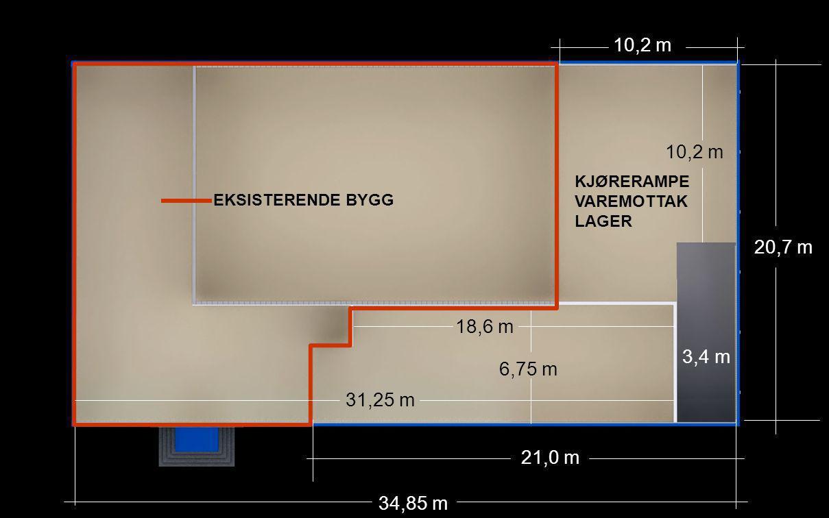20,7 m 10,2 m 21,0 m 6,75 m 18,6 m 3,4 m 34,85 m EKSISTERENDE BYGG 31,25 m KJØRERAMPE VAREMOTTAK LAGER
