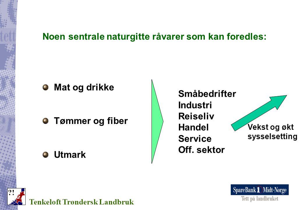 Noen sentrale naturgitte råvarer som kan foredles: Tenkeloft Trøndersk Landbruk ?! Mat og drikke Tømmer og fiber Utmark Småbedrifter Industri Reiseliv