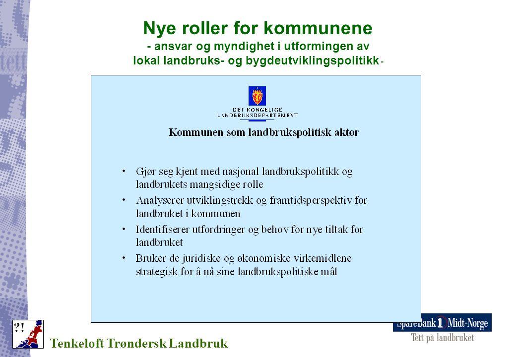 Nye roller for kommunene - ansvar og myndighet i utformingen av lokal landbruks- og bygdeutviklingspolitikk - Tenkeloft Trøndersk Landbruk ?!
