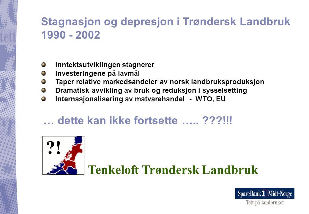 Stagnasjon og depresjon i Trøndersk Landbruk 1990 - 2002 Inntektsutviklingen stagnerer Investeringene på lavmål Taper relative markedsandeler av norsk