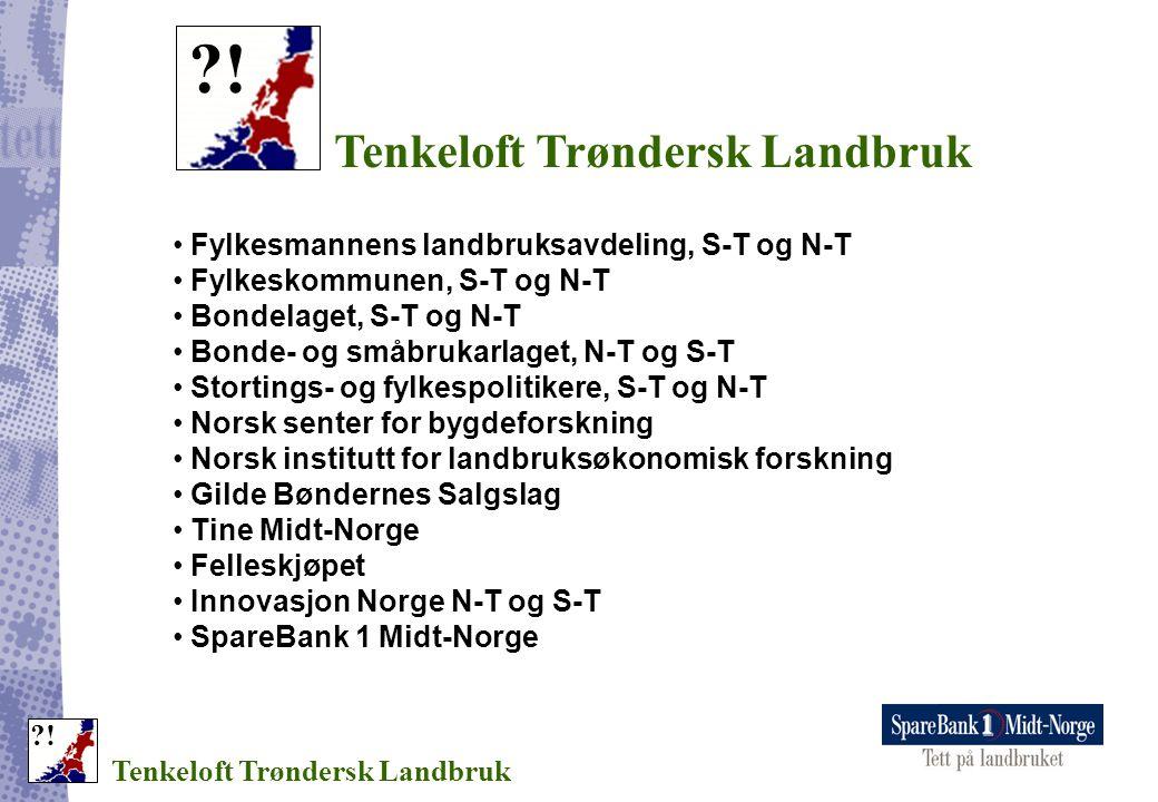 Tenkeloft Trøndersk Landbruk ?! • Fylkesmannens landbruksavdeling, S-T og N-T • Fylkeskommunen, S-T og N-T • Bondelaget, S-T og N-T • Bonde- og småbru