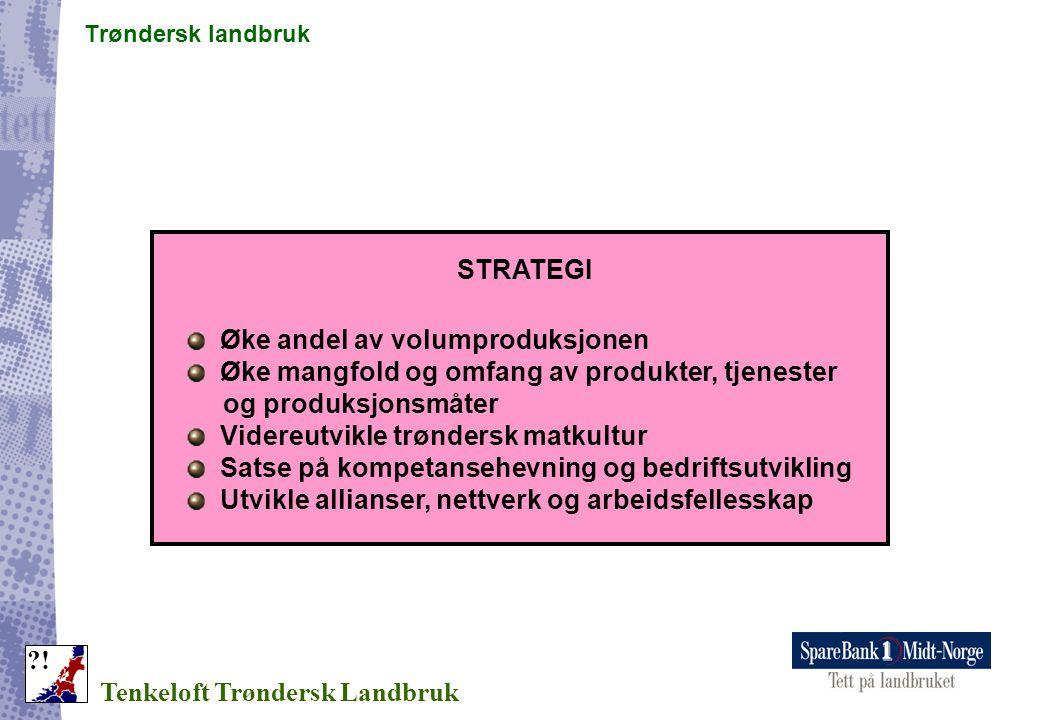 Trøndersk landbruk Tenkeloft Trøndersk Landbruk ?! STRATEGI Øke andel av volumproduksjonen Øke mangfold og omfang av produkter, tjenester og produksjo