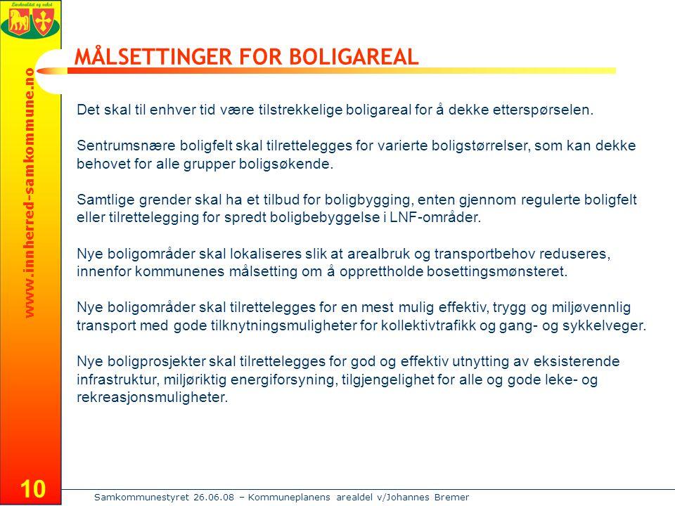 www.innherred-samkommune.no Samkommunestyret 26.06.08 – Kommuneplanens arealdel v/Johannes Bremer 10 MÅLSETTINGER FOR BOLIGAREAL Det skal til enhver tid være tilstrekkelige boligareal for å dekke etterspørselen.