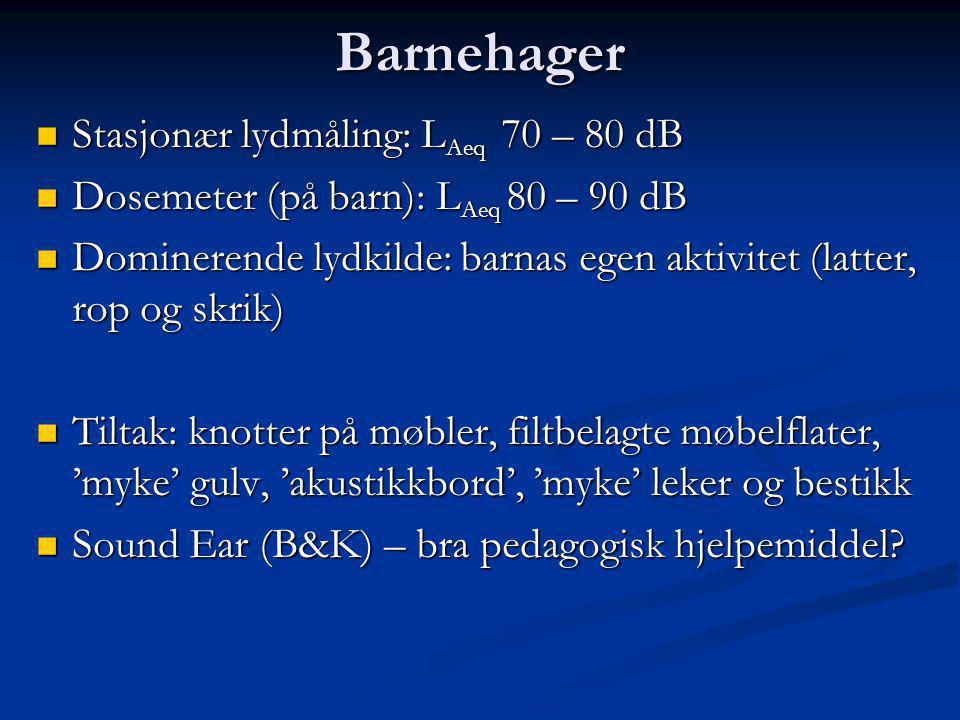 Barnehager  Stasjonær lydmåling: L Aeq 70 – 80 dB  Dosemeter (på barn): L Aeq 80 – 90 dB  Dominerende lydkilde: barnas egen aktivitet (latter, rop og skrik)  Tiltak: knotter på møbler, filtbelagte møbelflater, 'myke' gulv, 'akustikkbord', 'myke' leker og bestikk  Sound Ear (B&K) – bra pedagogisk hjelpemiddel?