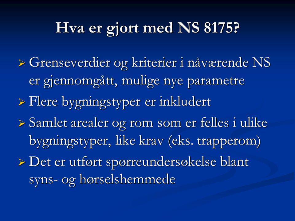 Hva er gjort med NS 8175?  Grenseverdier og kriterier i nåværende NS er gjennomgått, mulige nye parametre  Flere bygningstyper er inkludert  Samlet