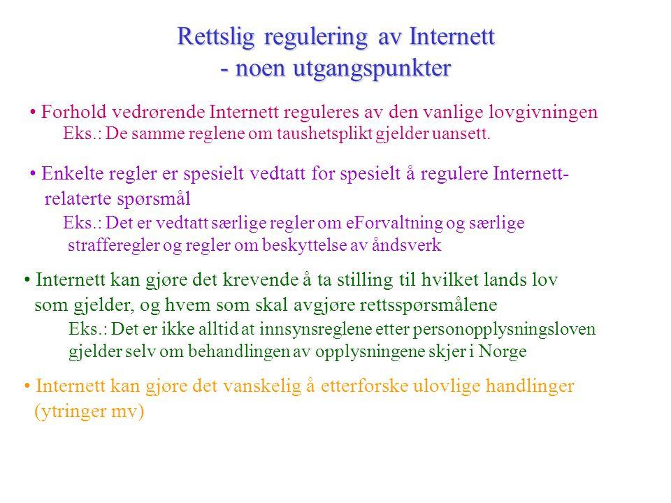Rettslig regulering av Internett - noen utgangspunkter • Internett kan gjøre det vanskelig å etterforske ulovlige handlinger (ytringer mv) • Forhold v