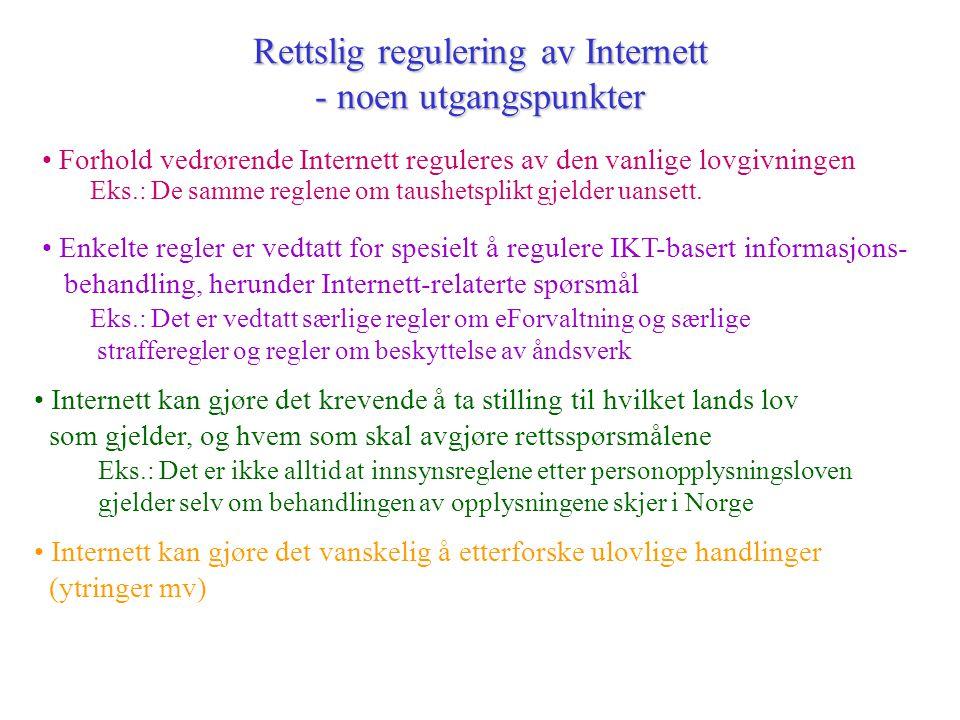 Rettslig regulering av Internett - noen utgangspunkter • Internett kan gjøre det vanskelig å etterforske ulovlige handlinger (ytringer mv) • Forhold vedrørende Internett reguleres av den vanlige lovgivningen Eks.: De samme reglene om taushetsplikt gjelder uansett.