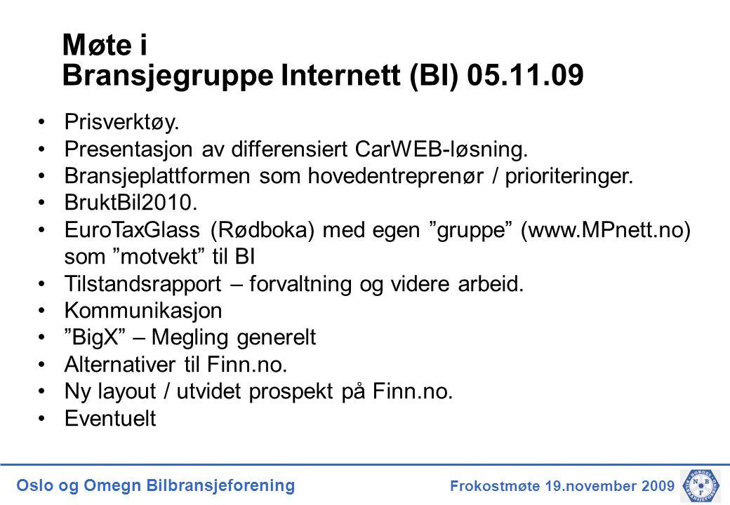Oslo og Omegn Bilbransjeforening Frokostmøte 19.november 2009 Møte i Bransjegruppe Internett (BI) 05.11.09 •Prisverktøy.