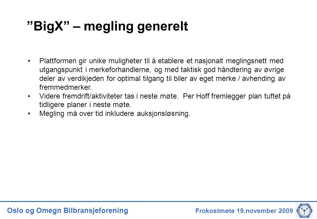 Oslo og Omegn Bilbransjeforening Frokostmøte 19.november 2009 BigX – megling generelt •Plattformen gir unike muligheter til å etablere et nasjonalt meglingsnett med utgangspunkt i merkeforhandlerne, og med taktisk god håndtering av øvrige deler av verdikjeden for optimal tilgang til biler av eget merke / avhending av fremmedmerker.