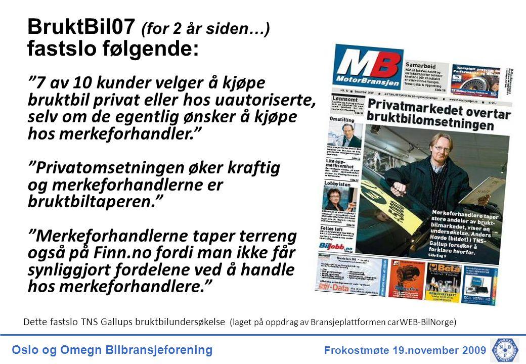 Oslo og Omegn Bilbransjeforening Frokostmøte 19.november 2009 BruktBil07 (for 2 år siden…) fastslo følgende: 7 av 10 kunder velger å kjøpe bruktbil privat eller hos uautoriserte, selv om de egentlig ønsker å kjøpe hos merkeforhandler. Privatomsetningen øker kraftig og merkeforhandlerne er bruktbiltaperen. Merkeforhandlerne taper terreng også på Finn.no fordi man ikke får synliggjort fordelene ved å handle hos merkeforhandlere. Dette fastslo TNS Gallups bruktbilundersøkelse (laget på oppdrag av Bransjeplattformen carWEB-BilNorge)