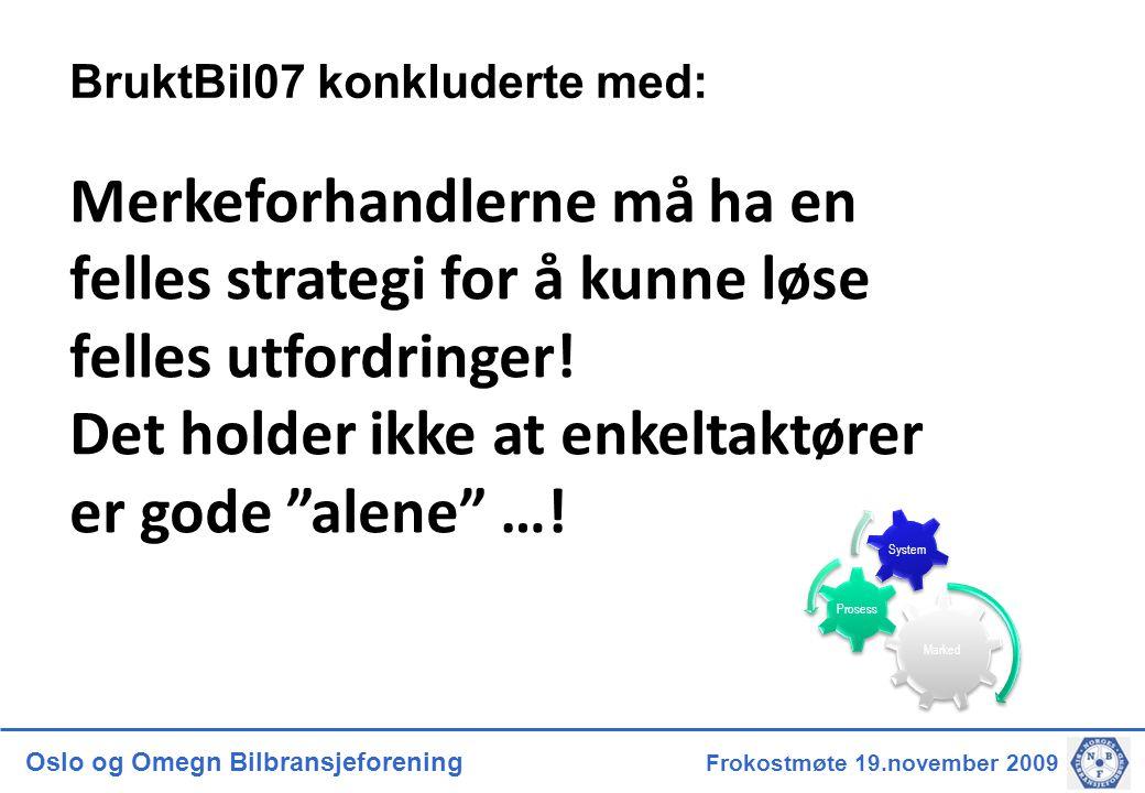 Oslo og Omegn Bilbransjeforening Frokostmøte 19.november 2009 BruktBil07 konkluderte med: Merkeforhandlerne må ha en felles strategi for å kunne løse felles utfordringer.