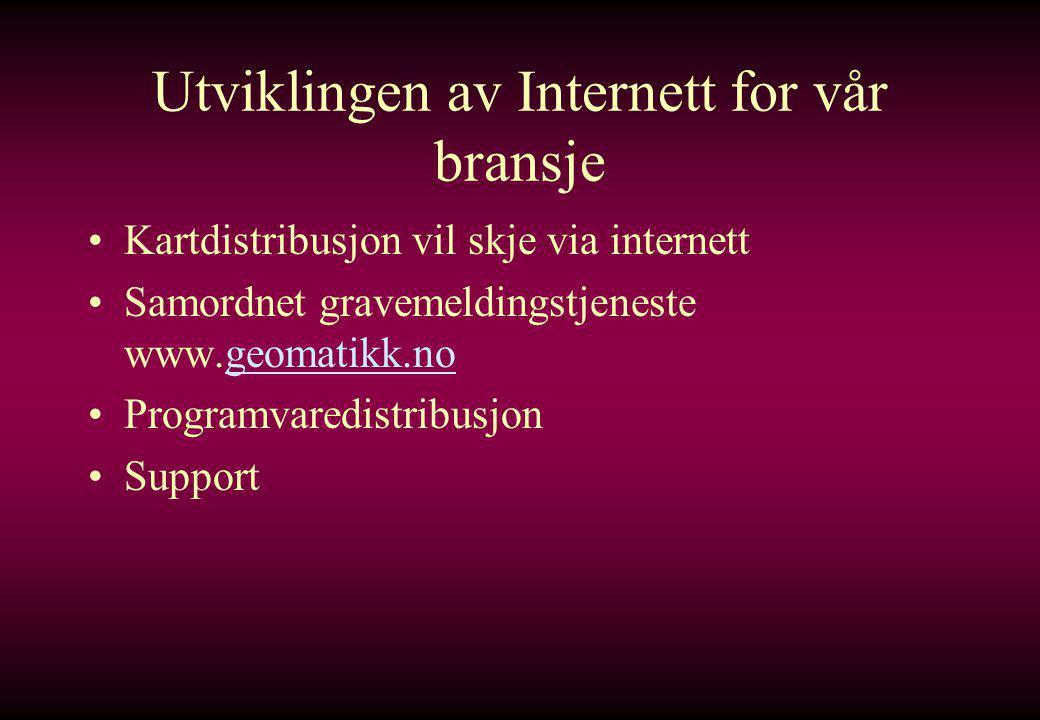 Utviklingen av Internett for vår bransje •Kartdistribusjon vil skje via internett •Samordnet gravemeldingstjeneste www.geomatikk.nogeomatikk.no •Programvaredistribusjon •Support