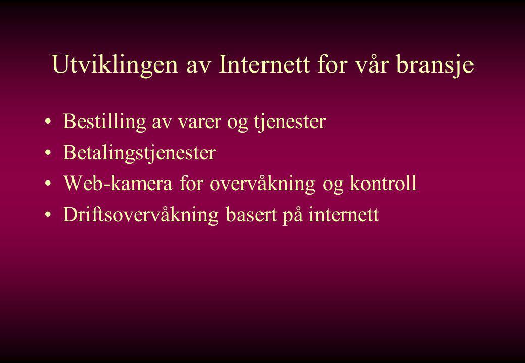 Utviklingen av Internett for vår bransje •Bestilling av varer og tjenester •Betalingstjenester •Web-kamera for overvåkning og kontroll •Driftsovervåkning basert på internett