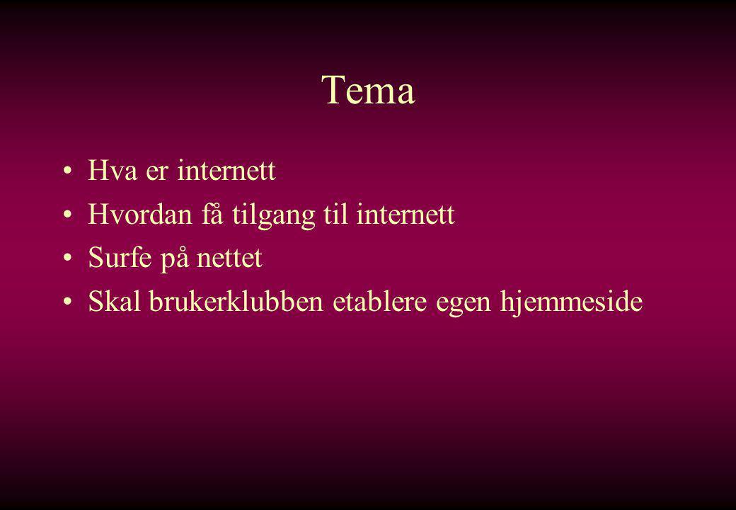 Tema •Hva er internett •Hvordan få tilgang til internett •Surfe på nettet •Skal brukerklubben etablere egen hjemmeside