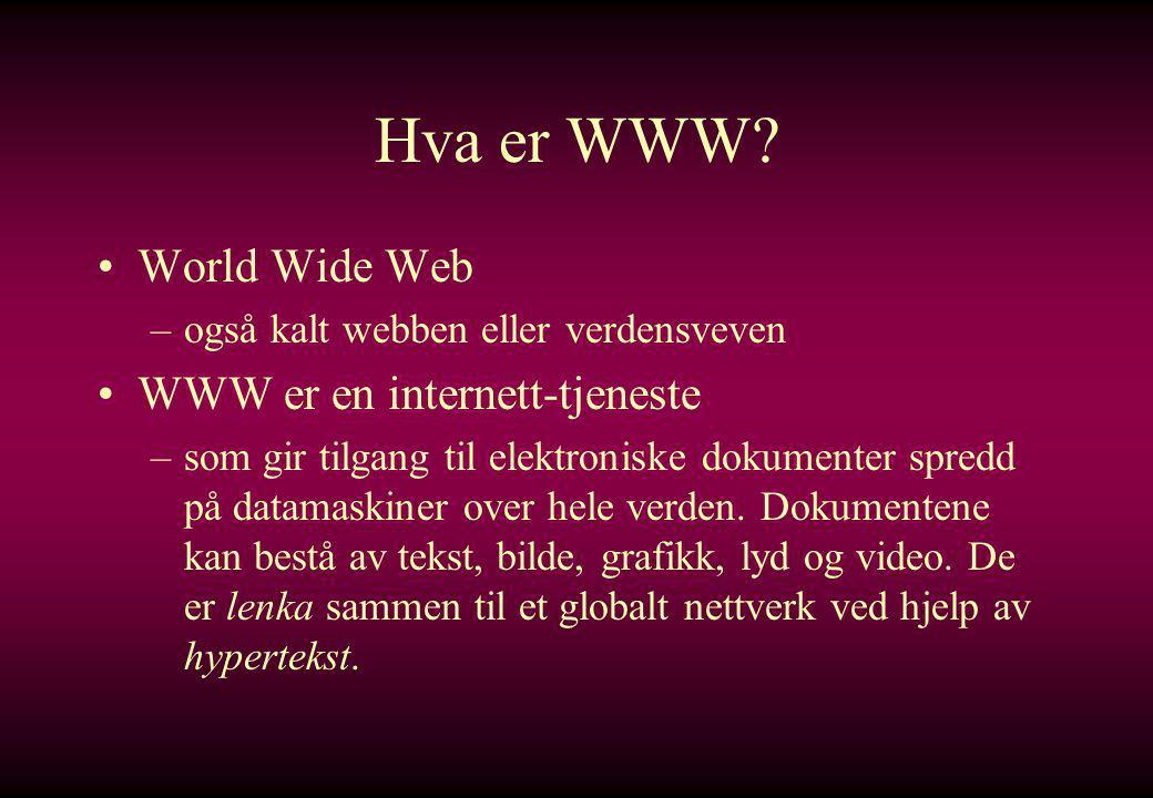 Hva er en hjemmeside.–Hjemmeside er et dokument laget for visning på www.
