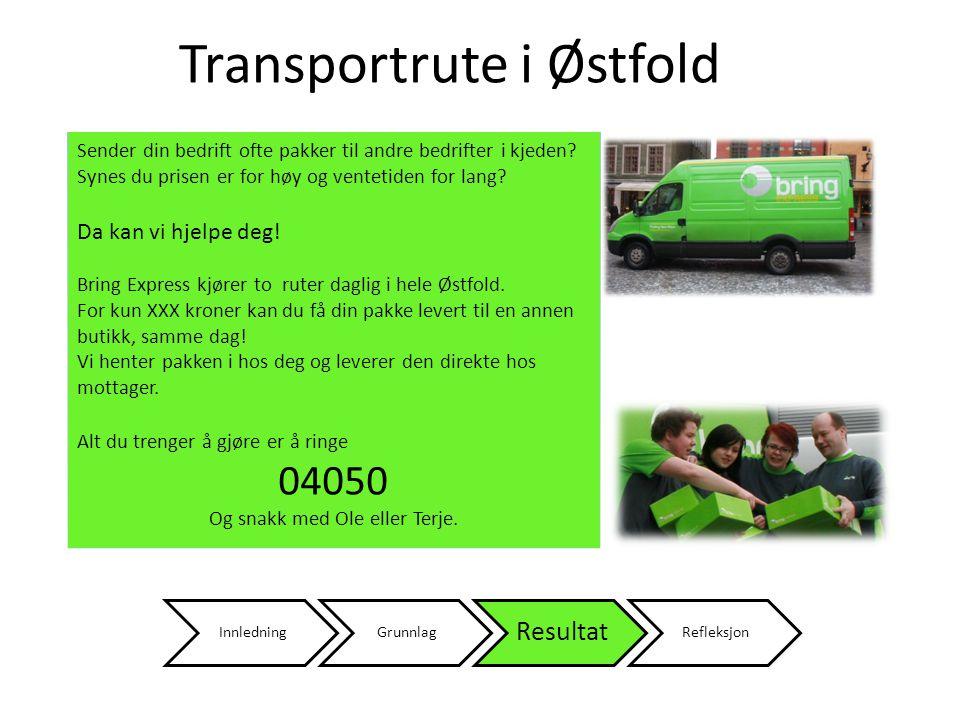 InnledningGrunnlag Resultat Refleksjon Transportrute i Østfold Sender din bedrift ofte pakker til andre bedrifter i kjeden.