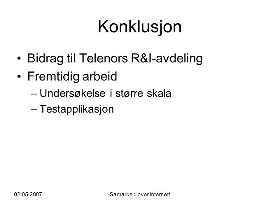 02.05.2007Samarbeid over Internett Konklusjon •Bidrag til Telenors R&I-avdeling •Fremtidig arbeid –Undersøkelse i større skala –Testapplikasjon